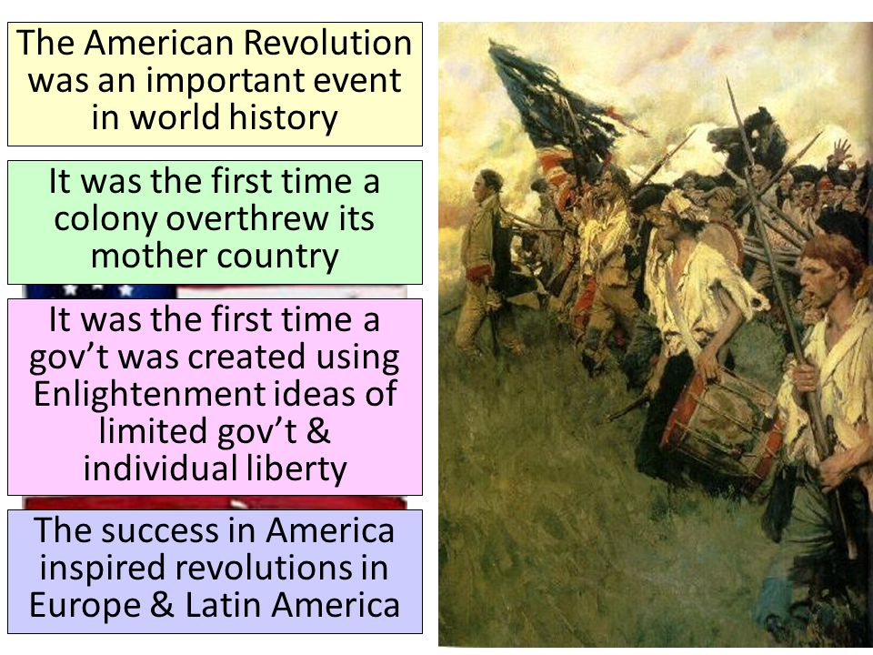 The American Revolution was an important event in world history