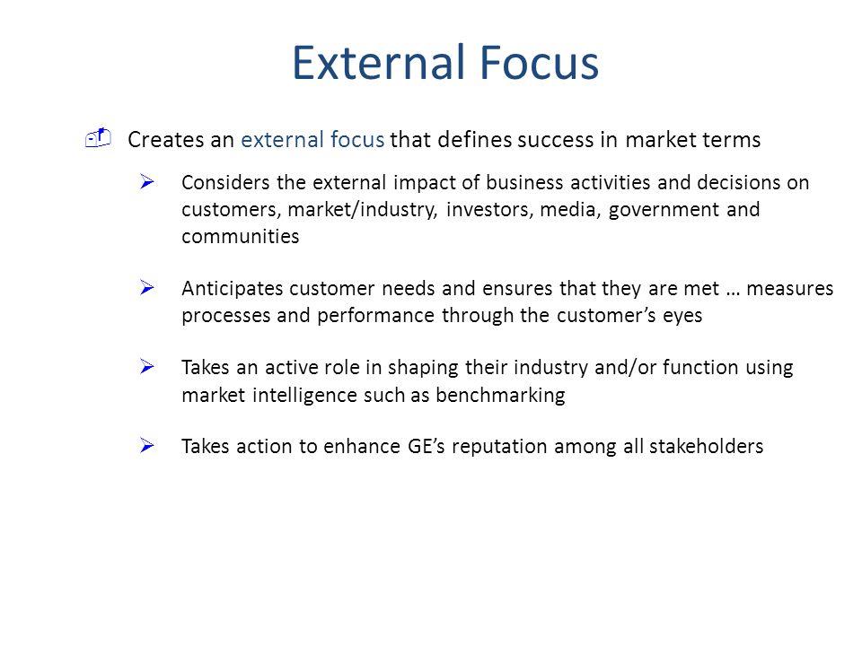 External Focus Creates an external focus that defines success in market terms.