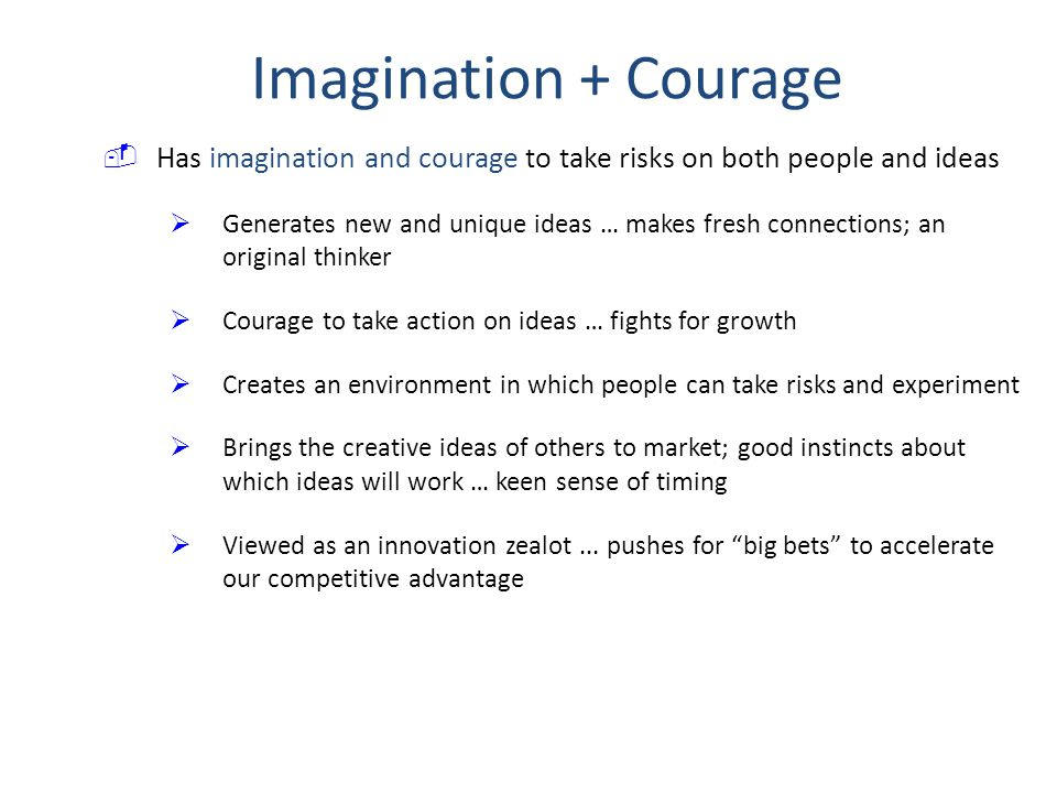 Imagination + Courage Has imagination and courage to take risks on both people and ideas.