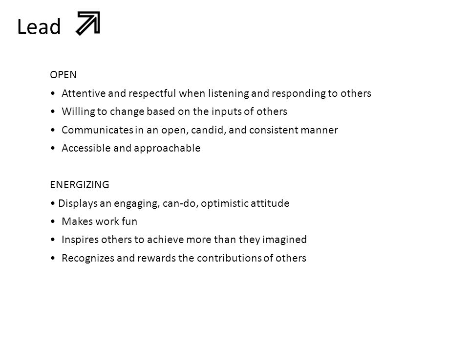 Lead OPEN. • Attentive and respectful when listening and responding to others. • Willing to change based on the inputs of others.