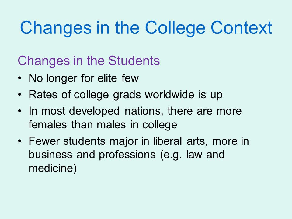Changes in the College Context