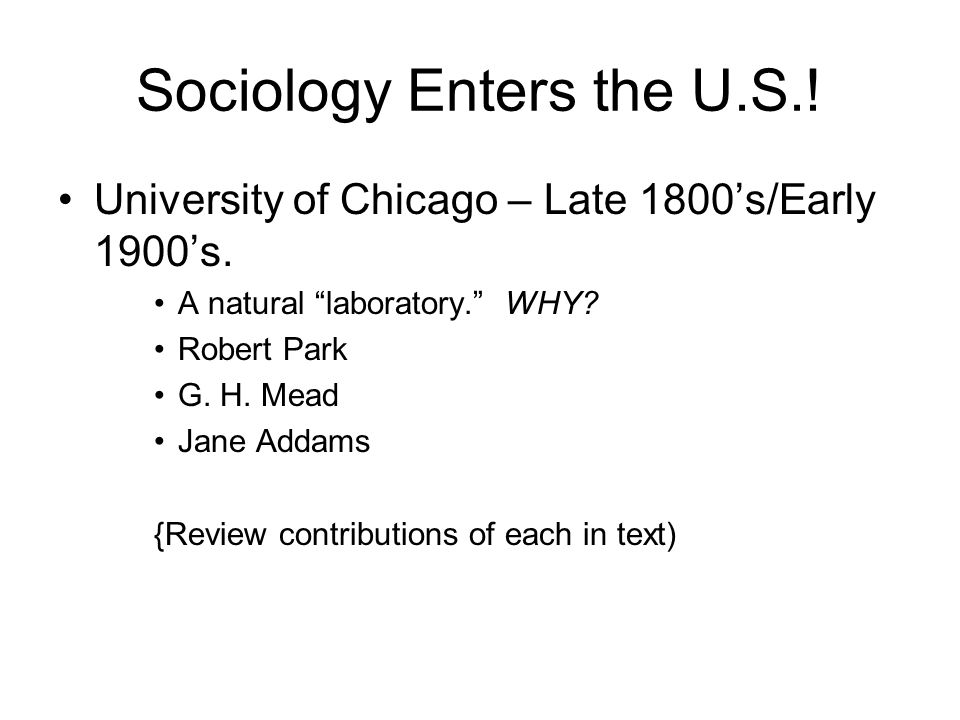 Sociology Enters the U.S.!