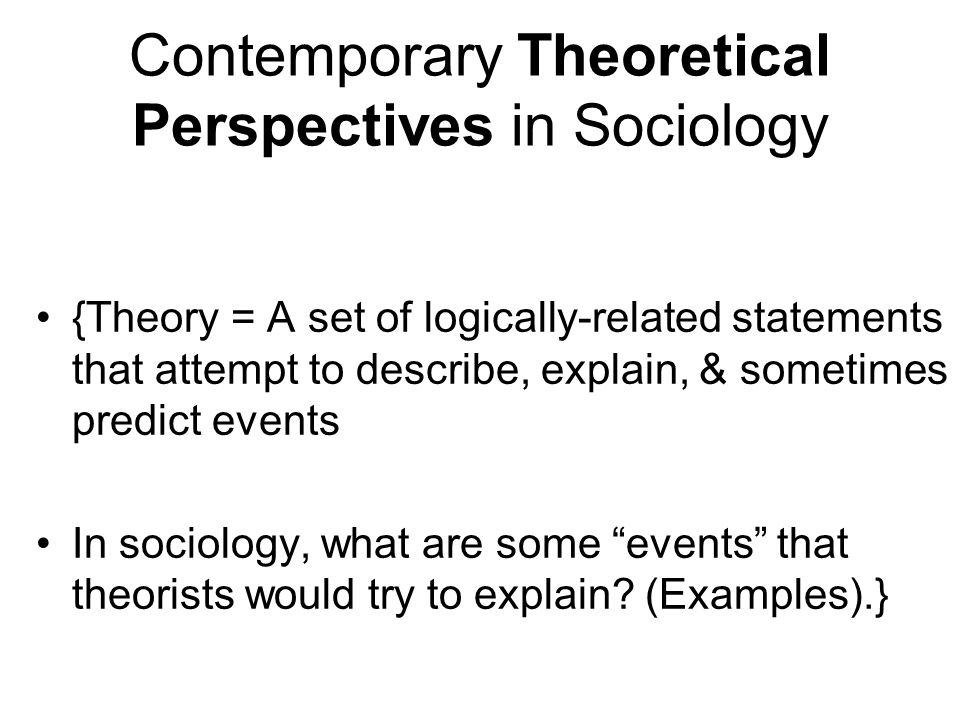theoretical perspectives sociology explain theoretical per A short intro to the sociological theoretical perspectives: conflict, functionalist, and symbolic interactionist i think i'm doing an awesome job of concisely illustrating the theoretical.
