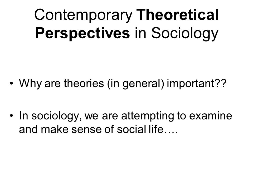 Contemporary Theoretical Perspectives in Sociology