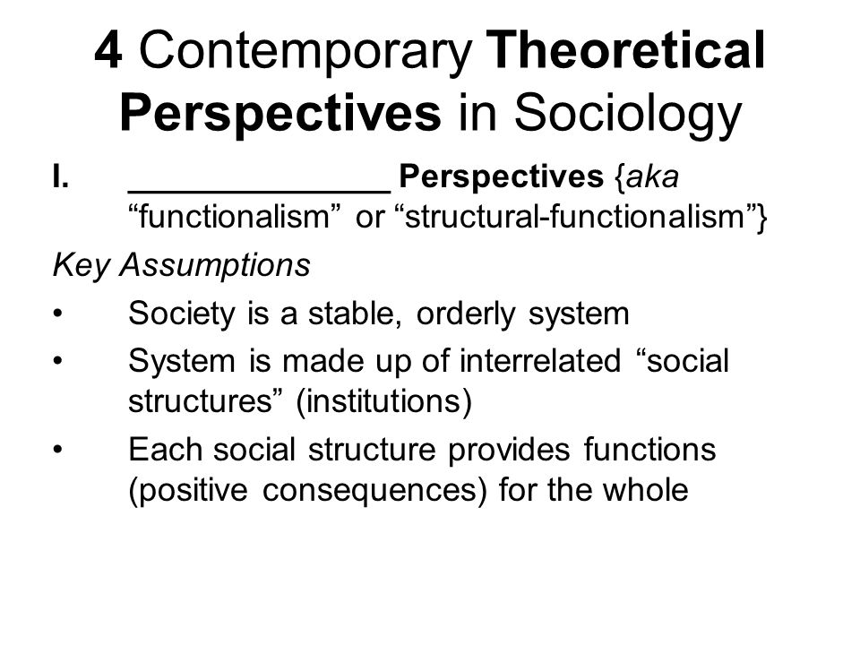 4 Contemporary Theoretical Perspectives in Sociology