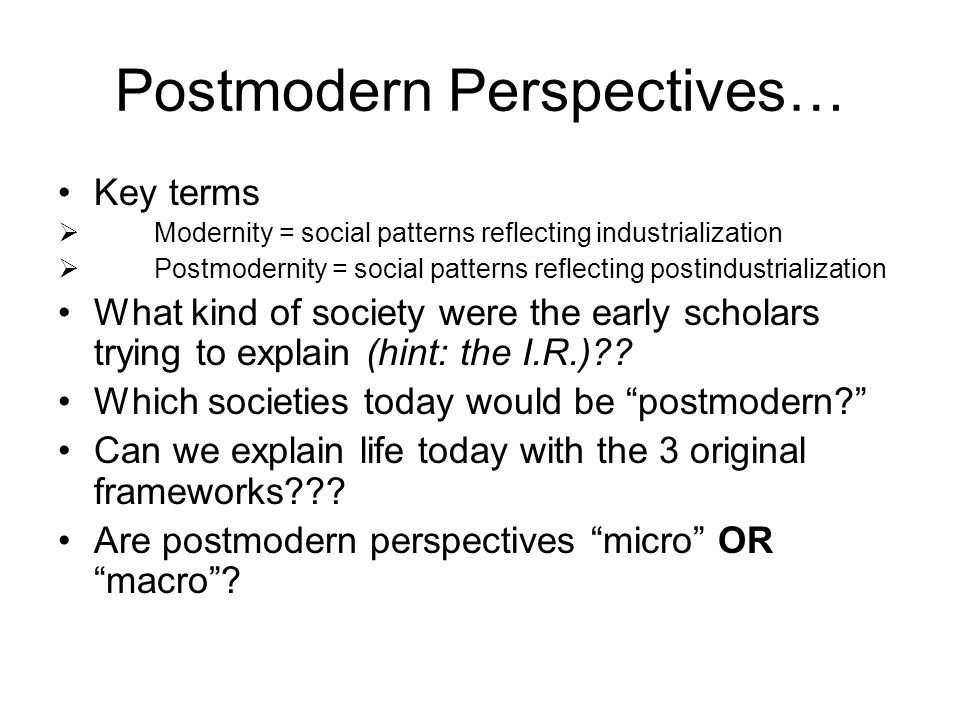 Postmodern Perspectives…