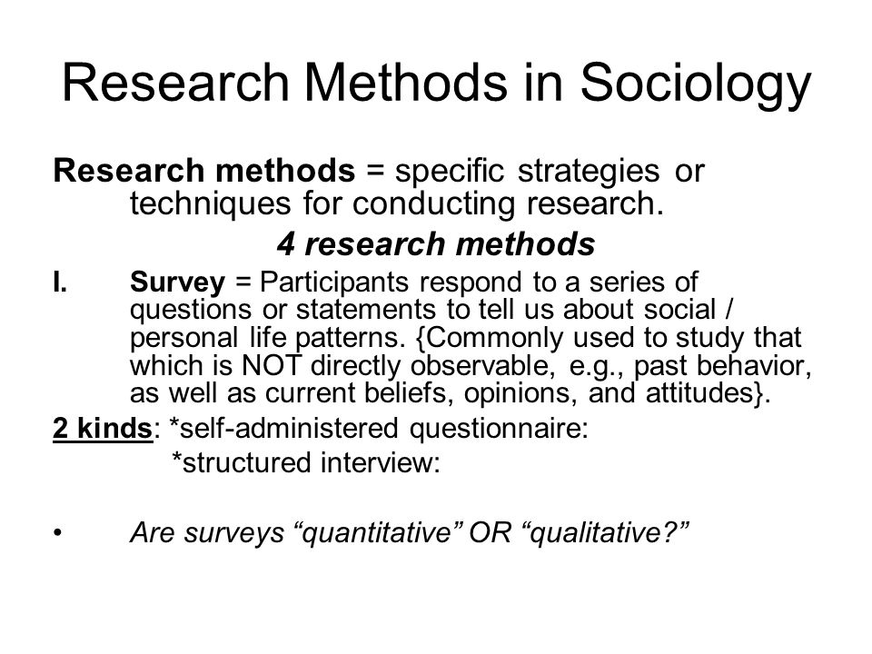 Research Methods in Sociology