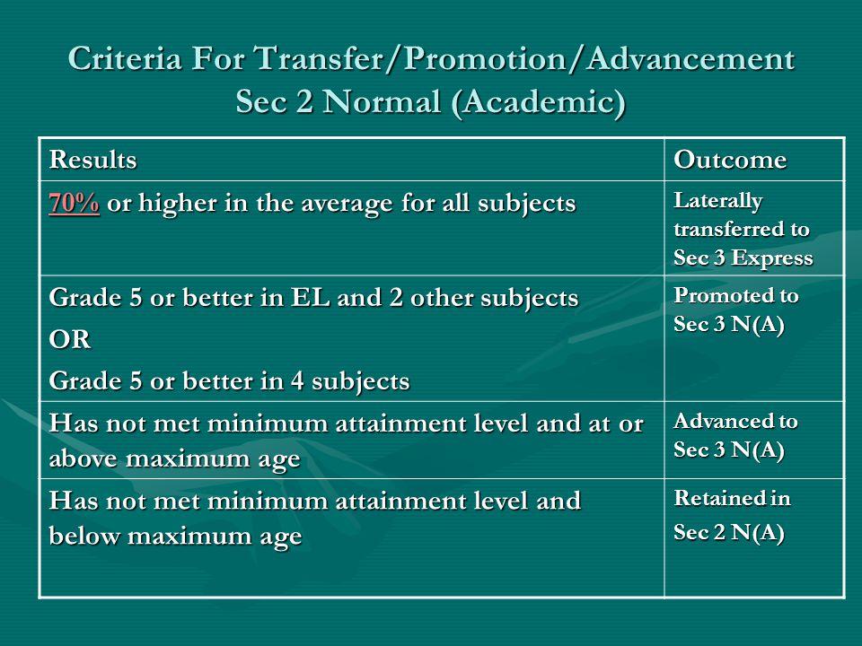 Criteria For Transfer/Promotion/Advancement Sec 2 Normal (Academic)