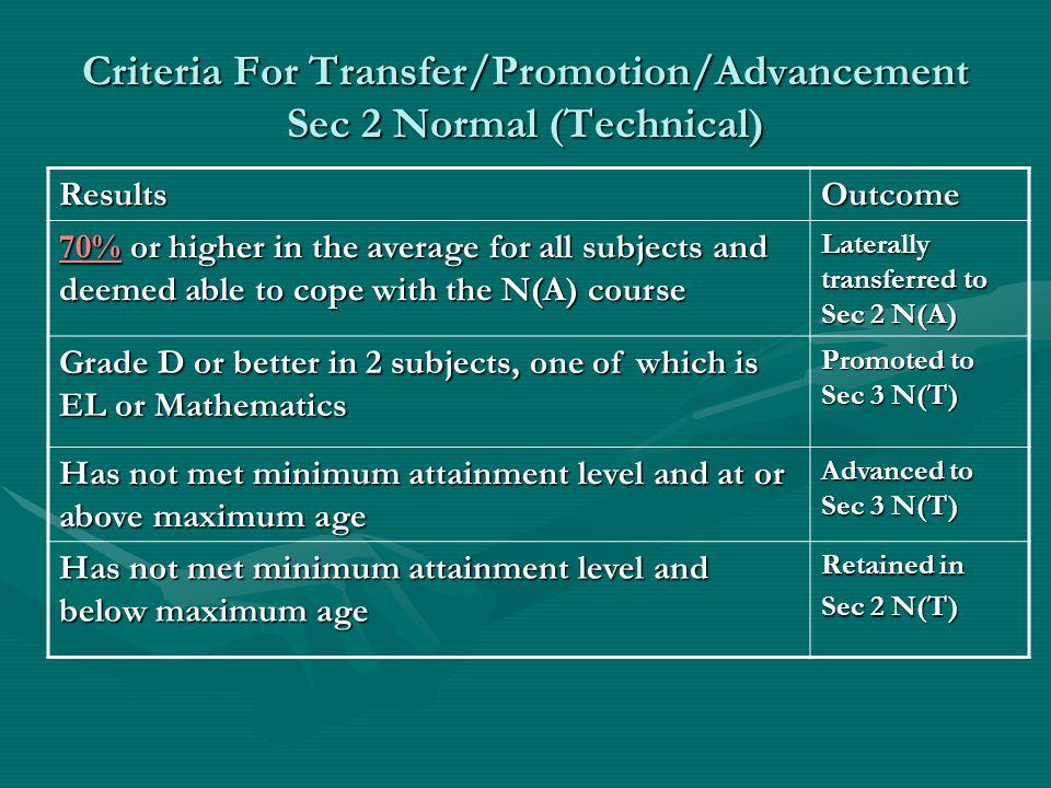 Criteria For Transfer/Promotion/Advancement Sec 2 Normal (Technical)