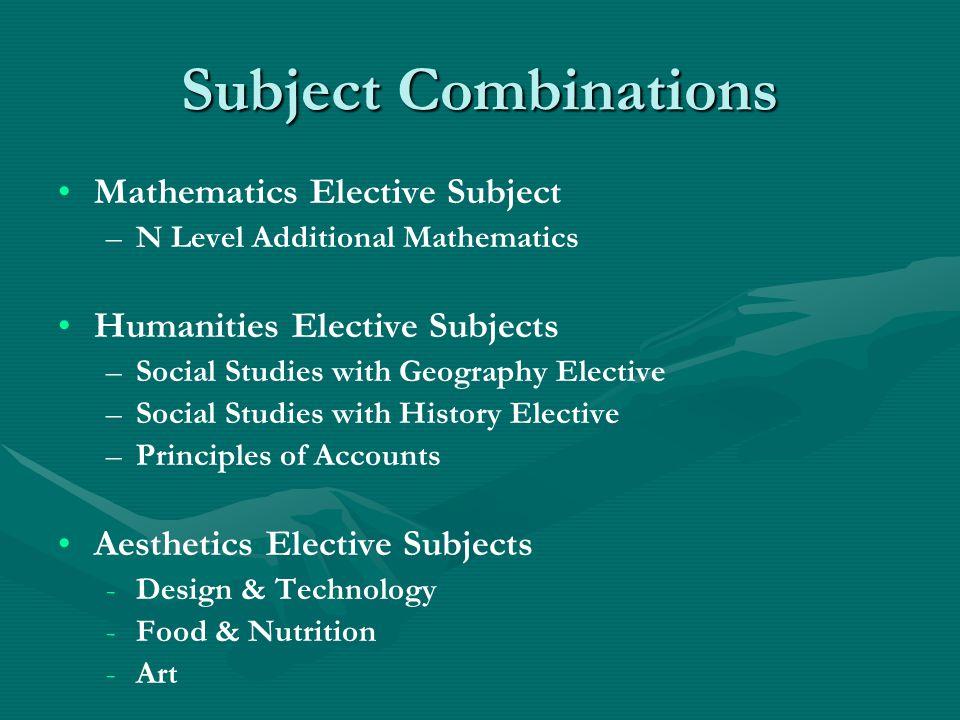 Subject Combinations Mathematics Elective Subject