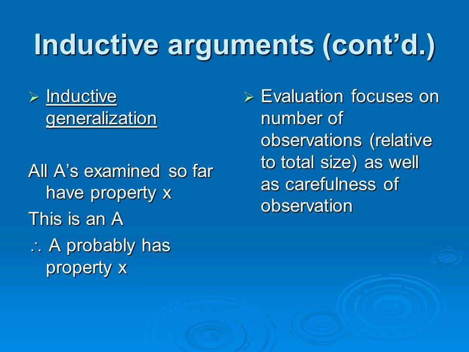 Inductive arguments (cont'd.)