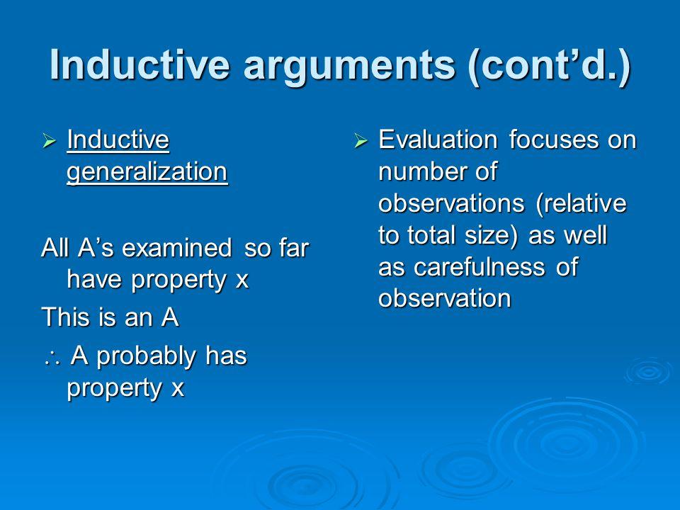 Inductive arguments (cont'd.)