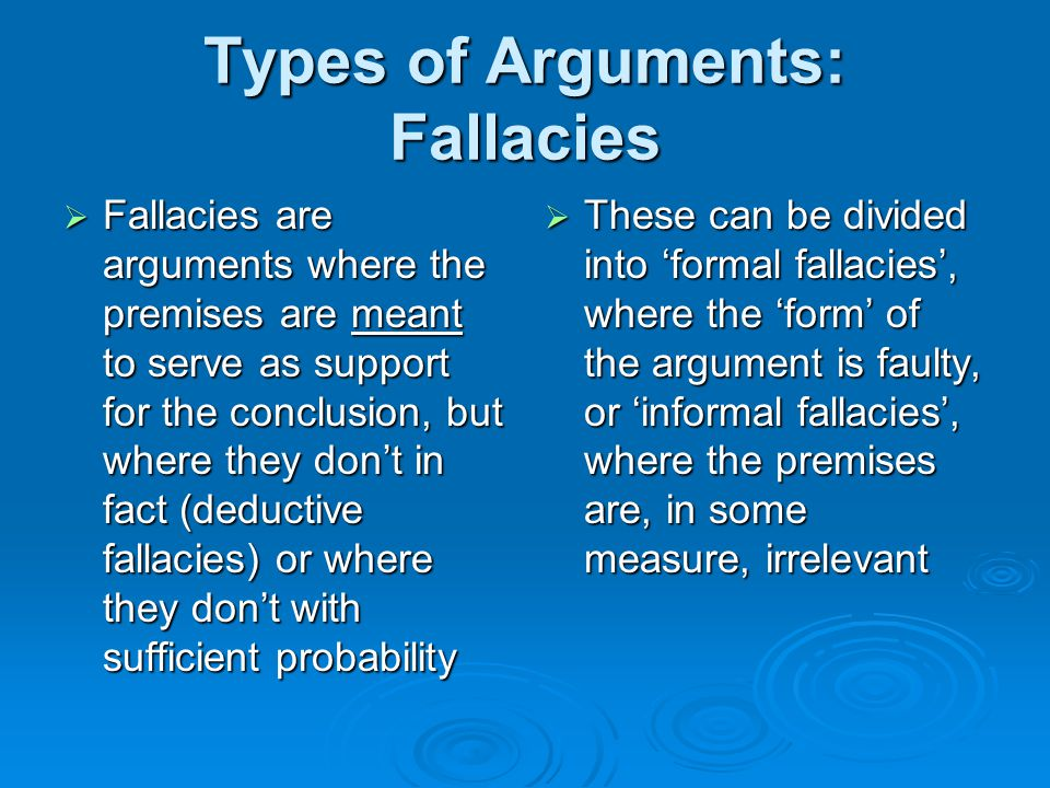 Types of Arguments: Fallacies