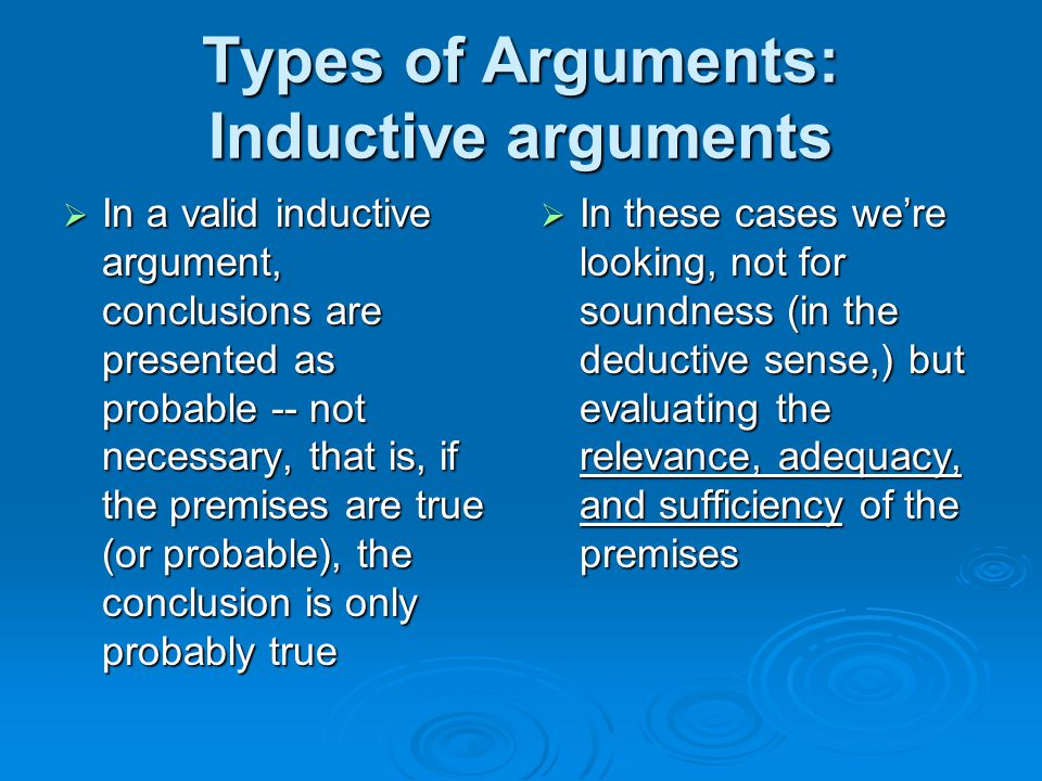 Types of Arguments: Inductive arguments