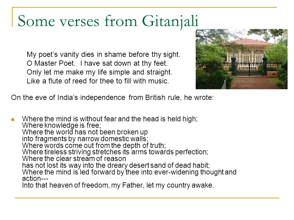 Some verses from Gitanjali