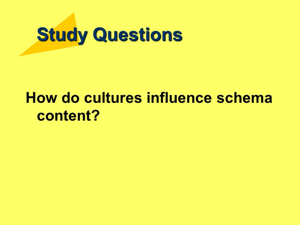 Study Questions How do cultures influence schema content