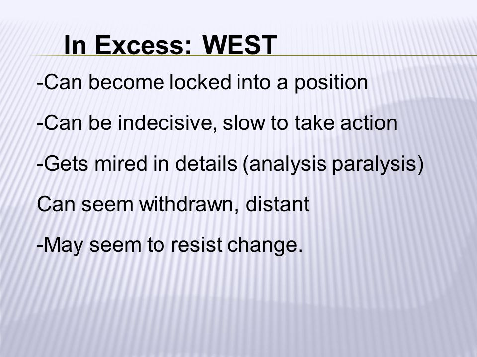 In Excess: WEST -Can become locked into a position