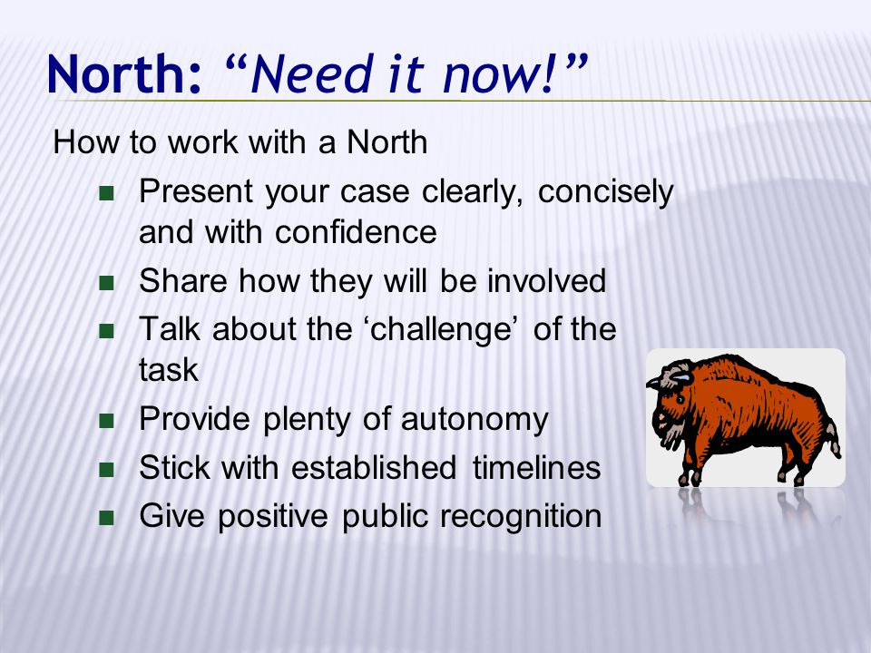 North: Need it now! How to work with a North