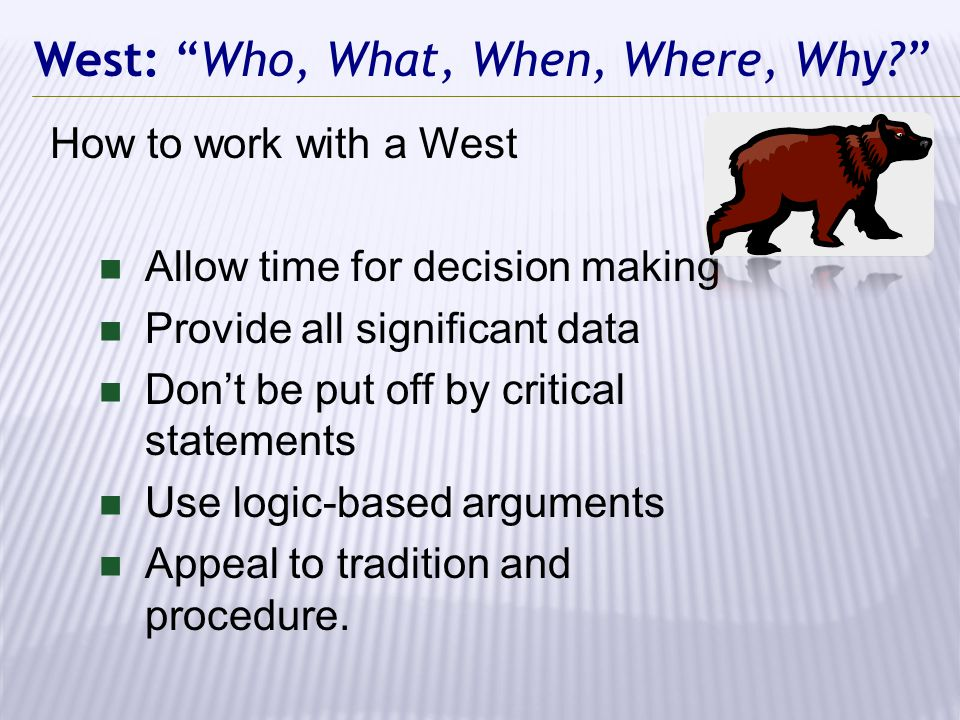 West: Who, What, When, Where, Why