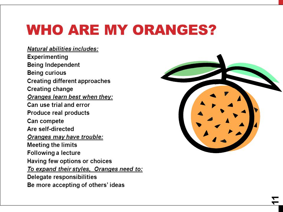 Who are my oranges Natural abilities includes: Experimenting