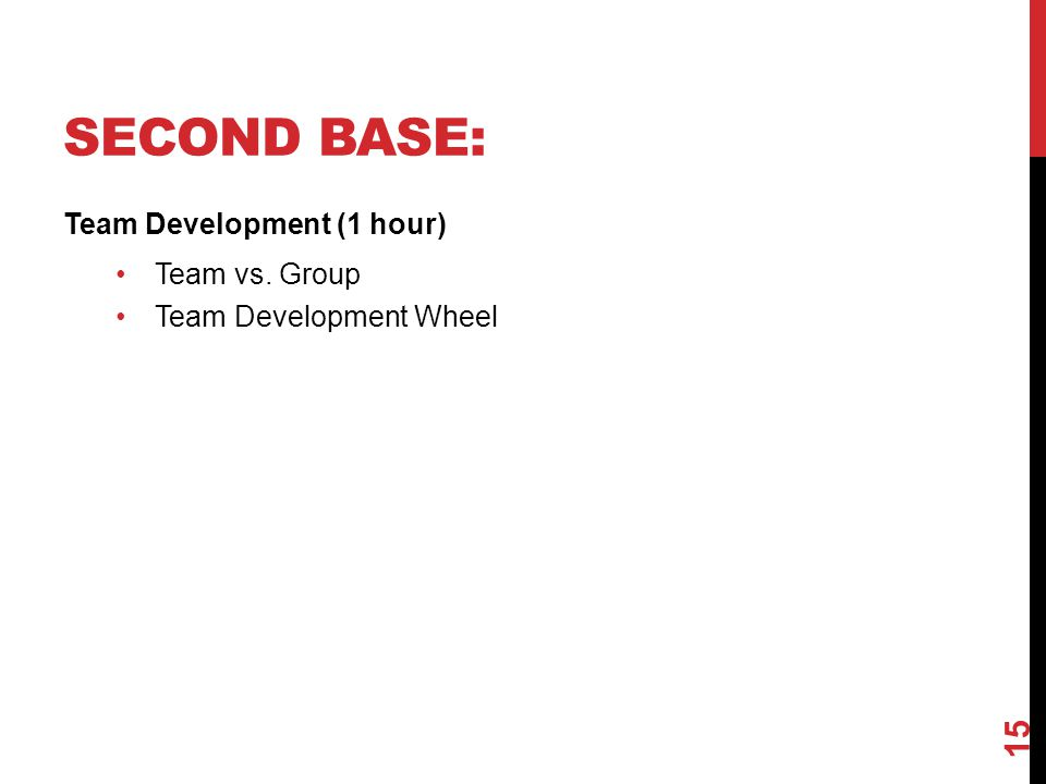 Second Base: Team Development (1 hour) Team vs. Group