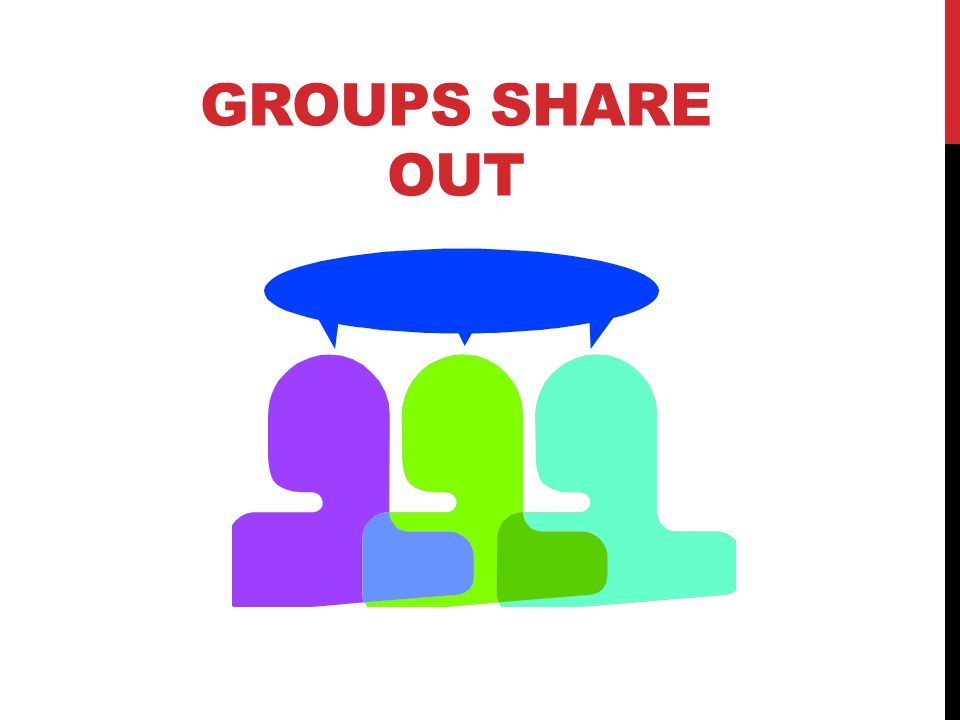 Groups Share Out Stage One shares out