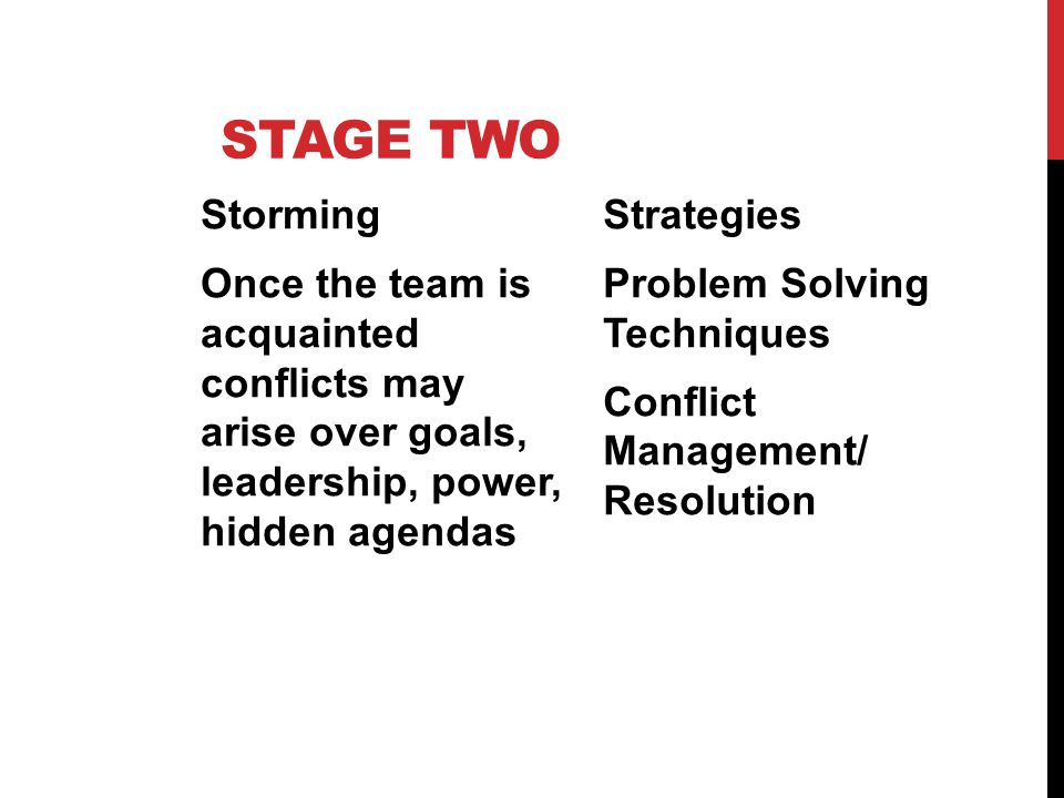 Stage Two Storming Once the team is acquainted conflicts may arise over goals, leadership, power, hidden agendas