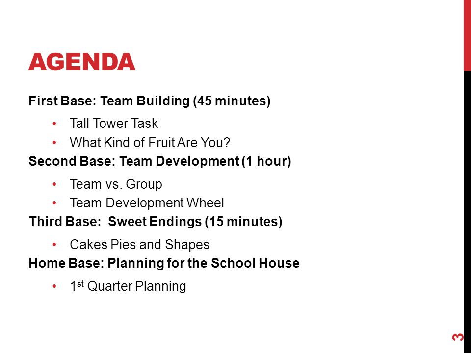 Agenda First Base: Team Building (45 minutes) Tall Tower Task