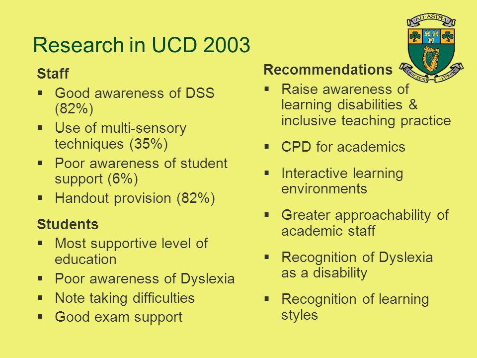 Research in UCD 2003 Recommendations Staff