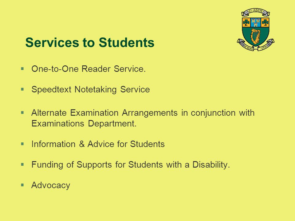 Services to Students One-to-One Reader Service.