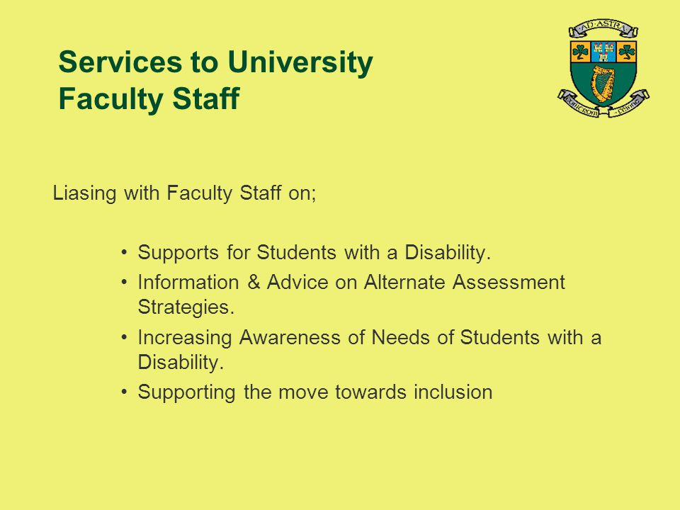 Services to University Faculty Staff