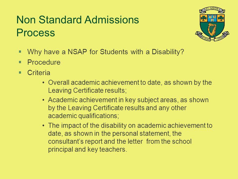 Non Standard Admissions Process