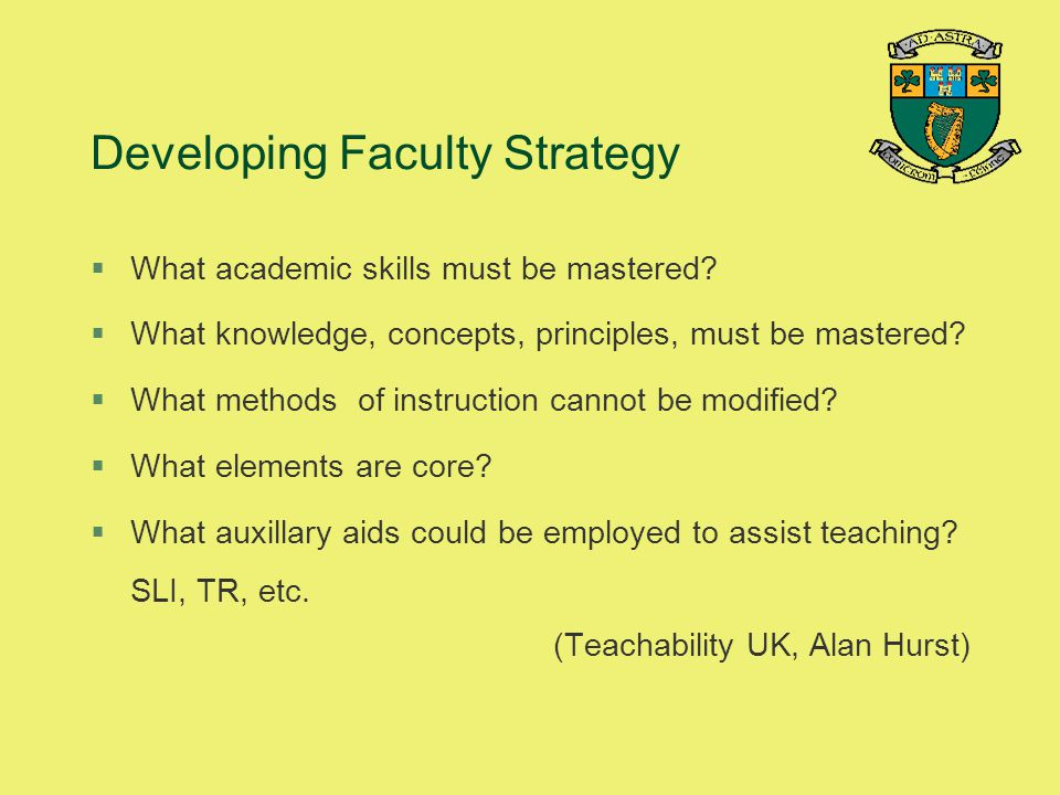 Developing Faculty Strategy