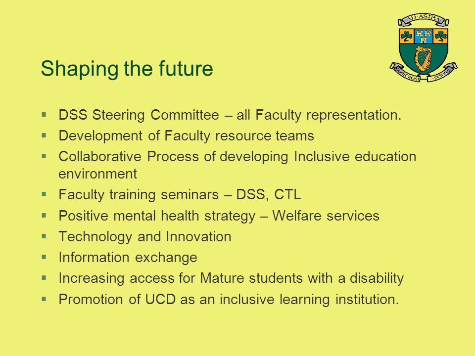 Shaping the future DSS Steering Committee – all Faculty representation. Development of Faculty resource teams.
