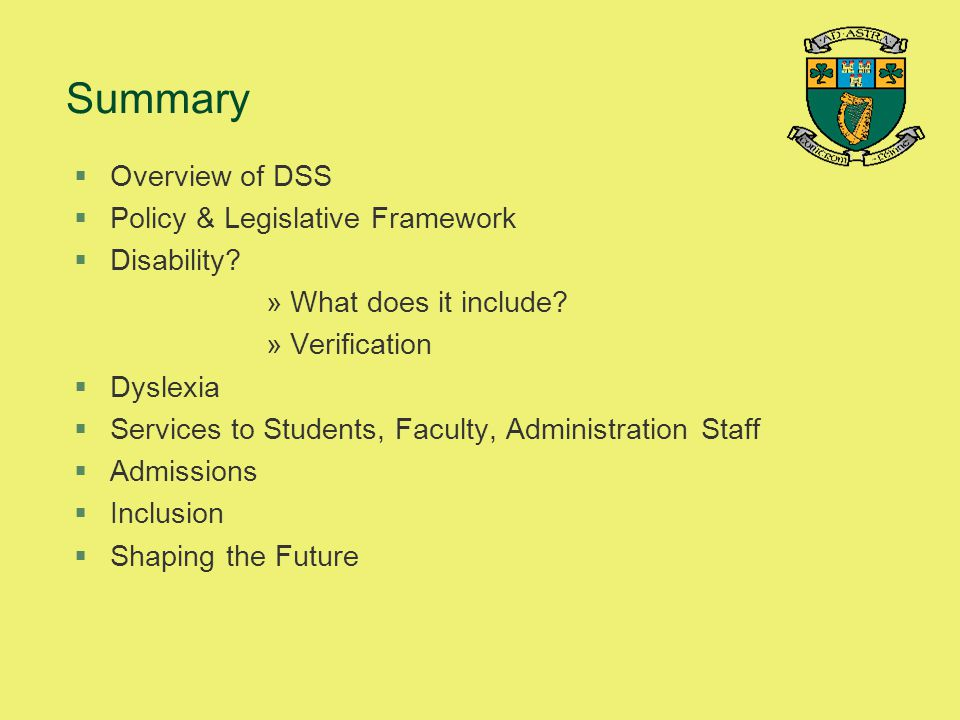 Summary Overview of DSS Policy & Legislative Framework Disability