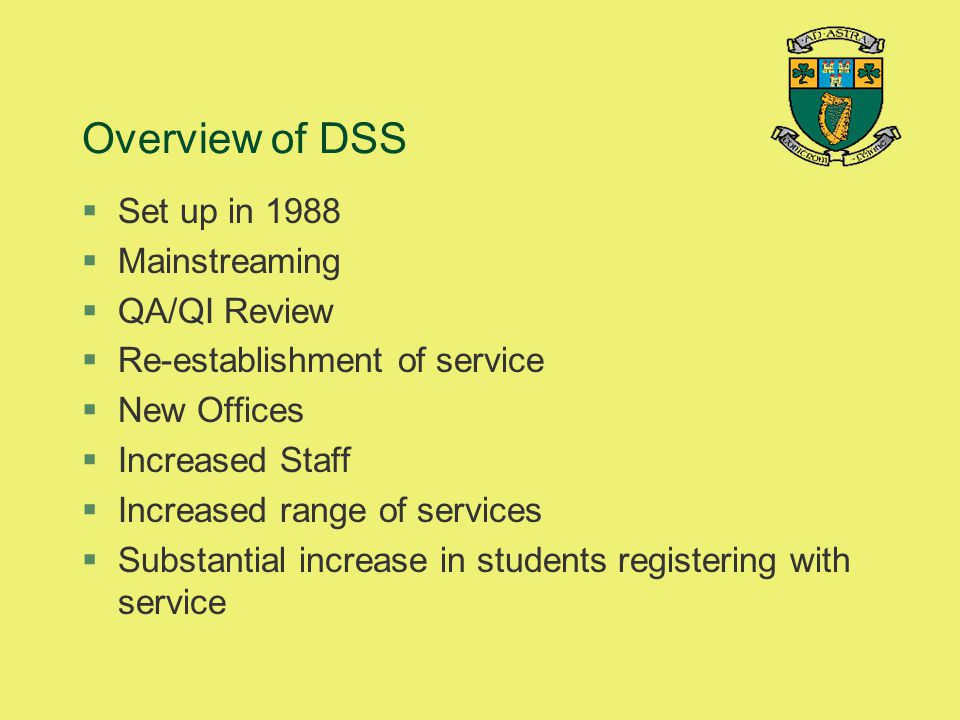 Overview of DSS Set up in 1988 Mainstreaming QA/QI Review