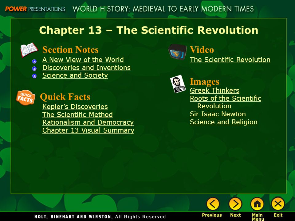 the main features of the scientific revolution