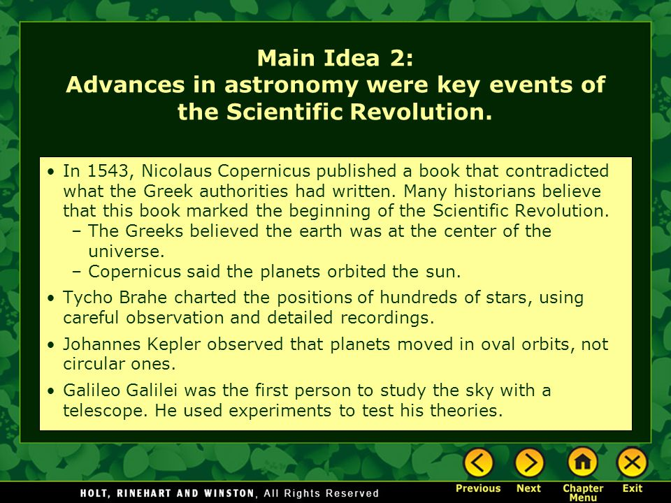Main Idea 2: Advances in astronomy were key events of the Scientific Revolution.