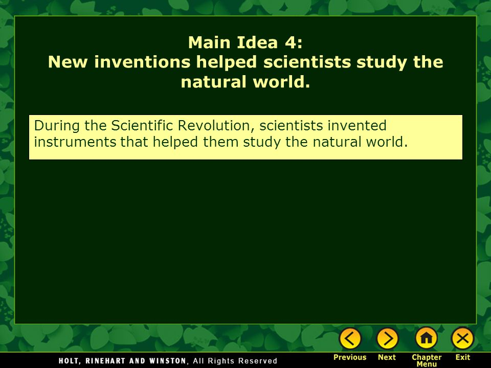 Main Idea 4: New inventions helped scientists study the natural world.