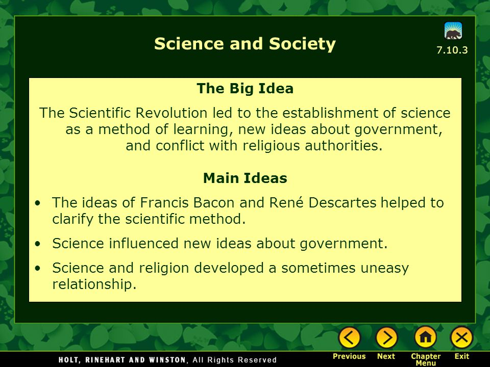 Science and Society The Big Idea