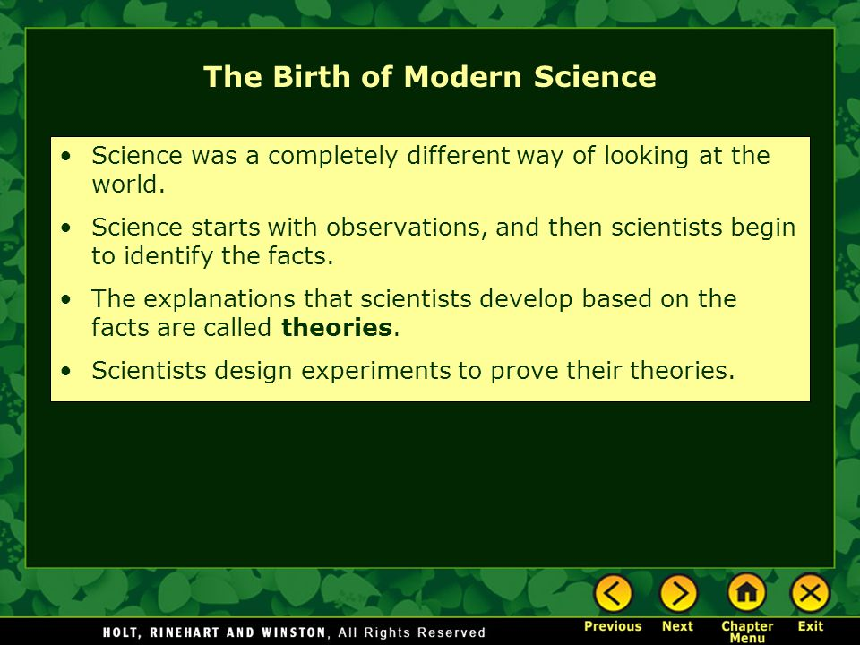 The Birth of Modern Science
