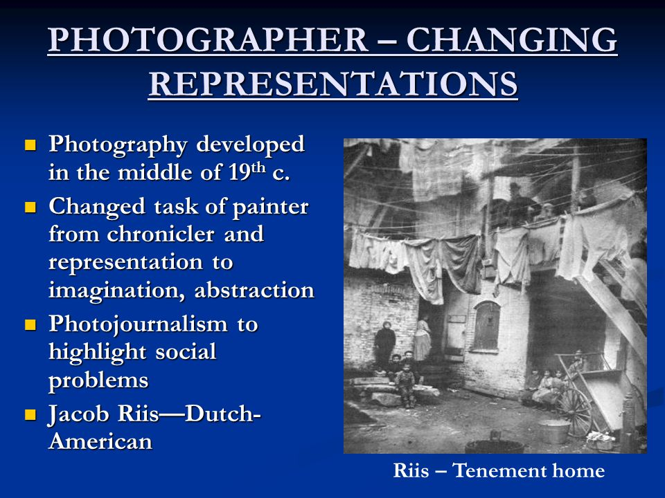 PHOTOGRAPHER – CHANGING REPRESENTATIONS
