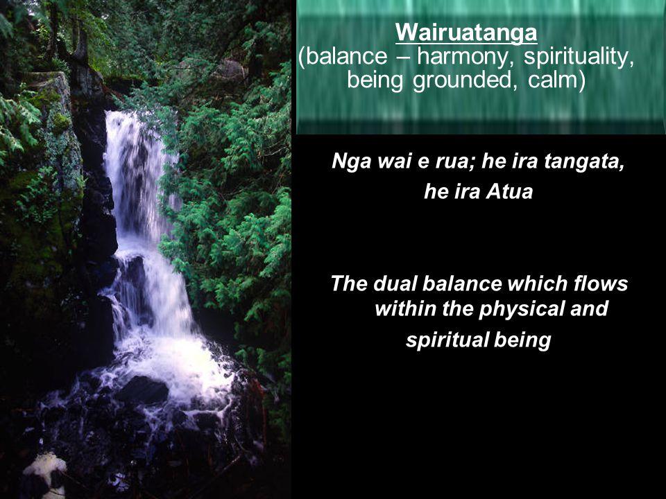 Wairuatanga (balance – harmony, spirituality, being grounded, calm)