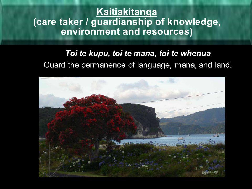 Kaitiakitanga (care taker / guardianship of knowledge, environment and resources)