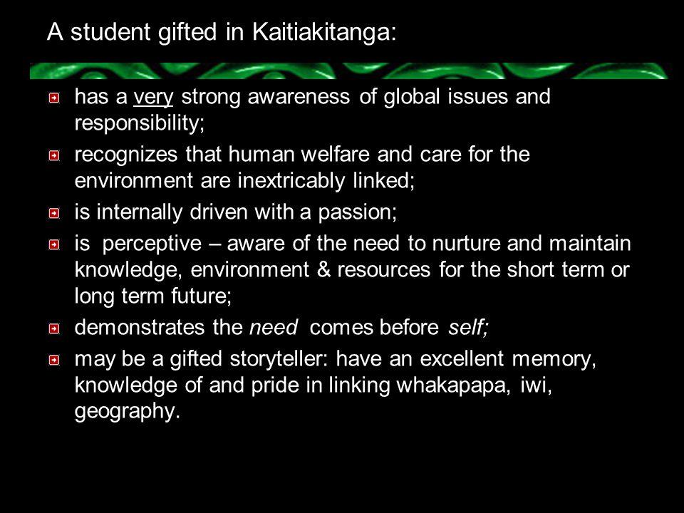 A student gifted in Kaitiakitanga: