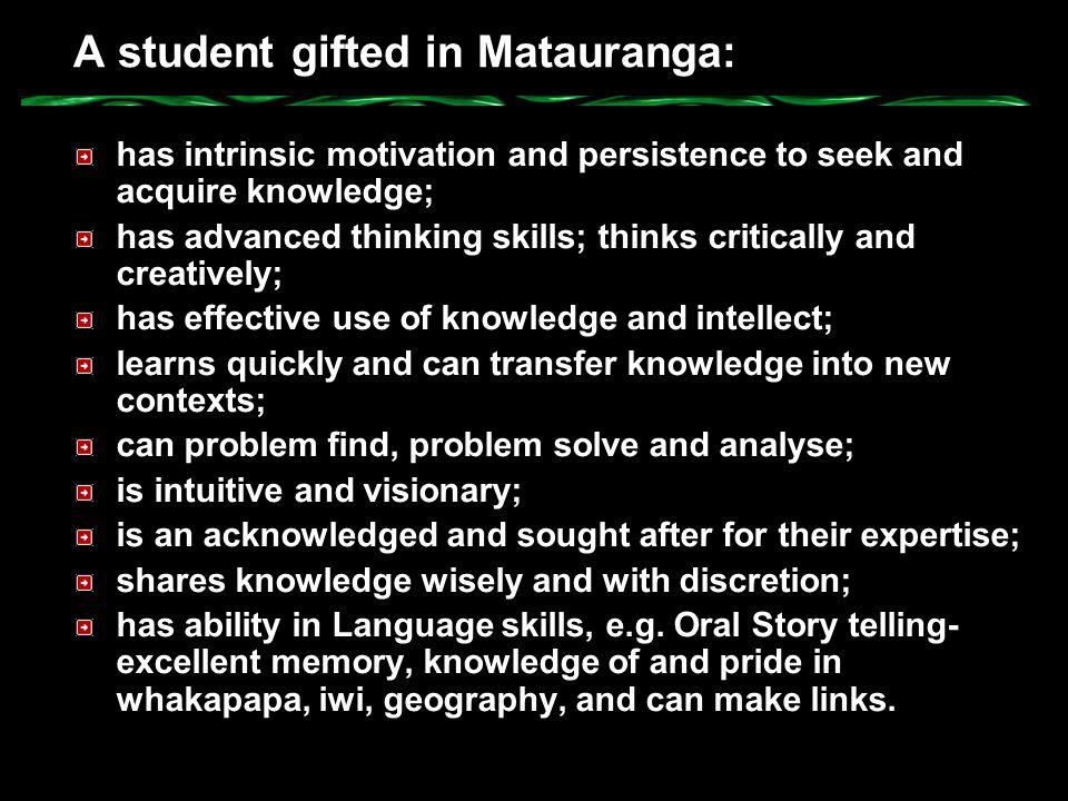 A student gifted in Matauranga: