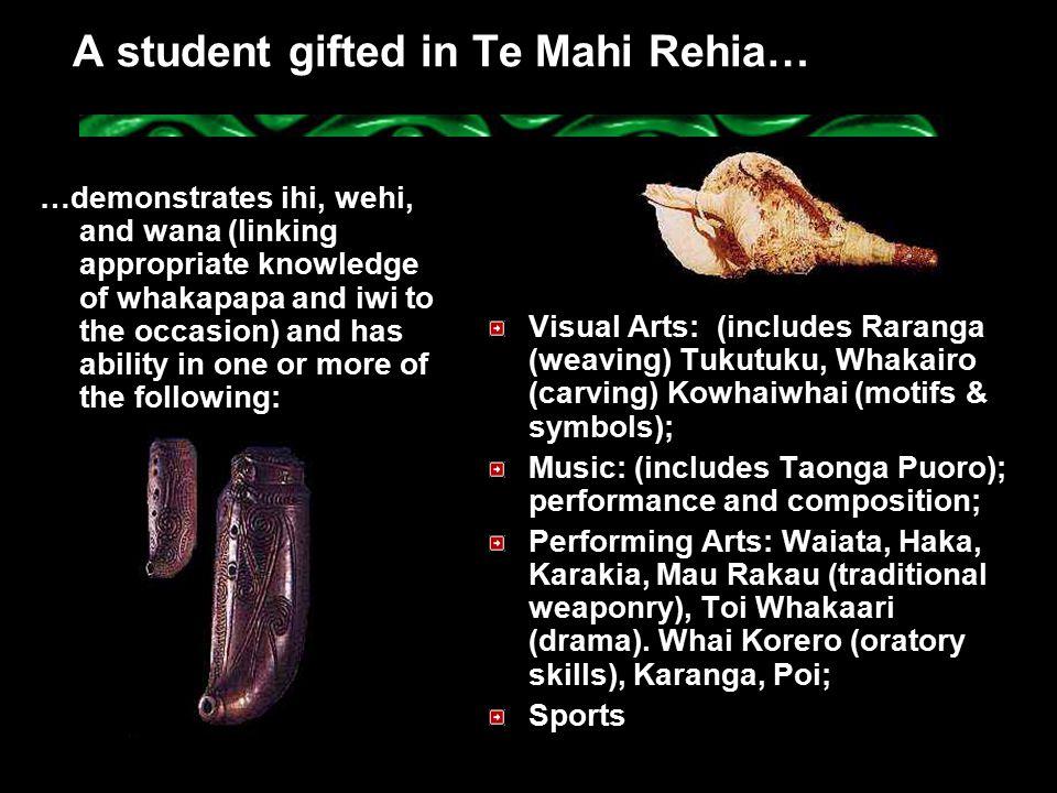 A student gifted in Te Mahi Rehia…