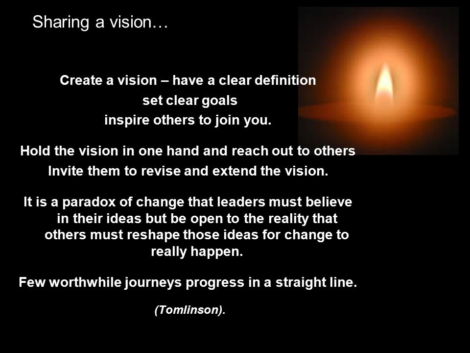 Sharing a vision… Create a vision – have a clear definition