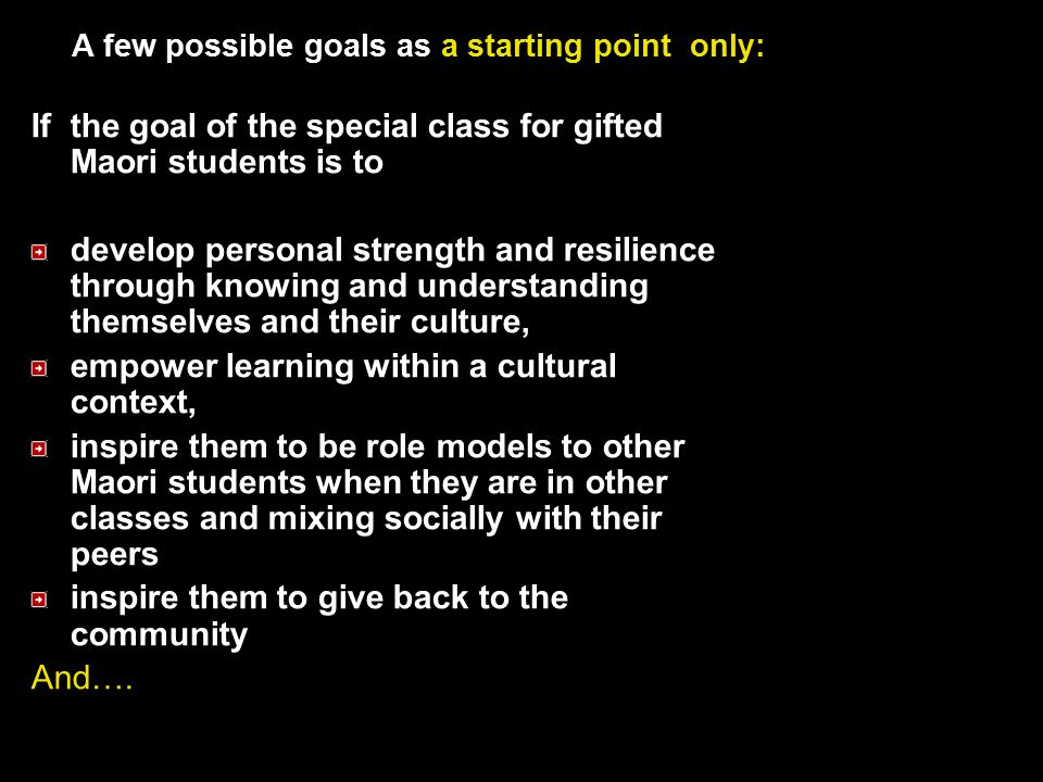 A few possible goals as a starting point only:
