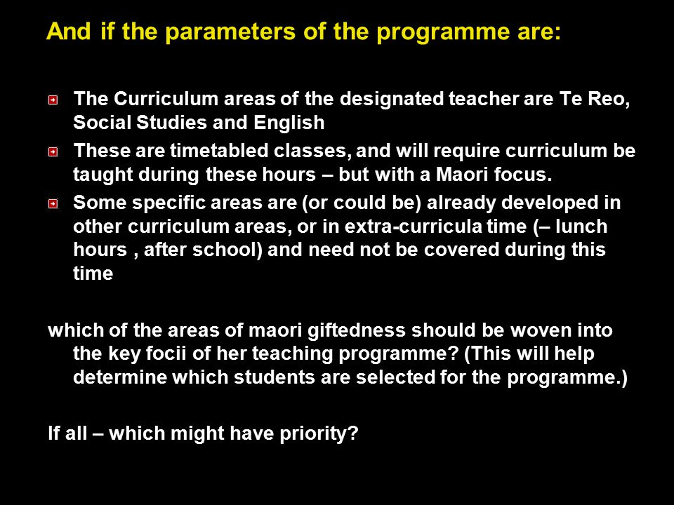 And if the parameters of the programme are: